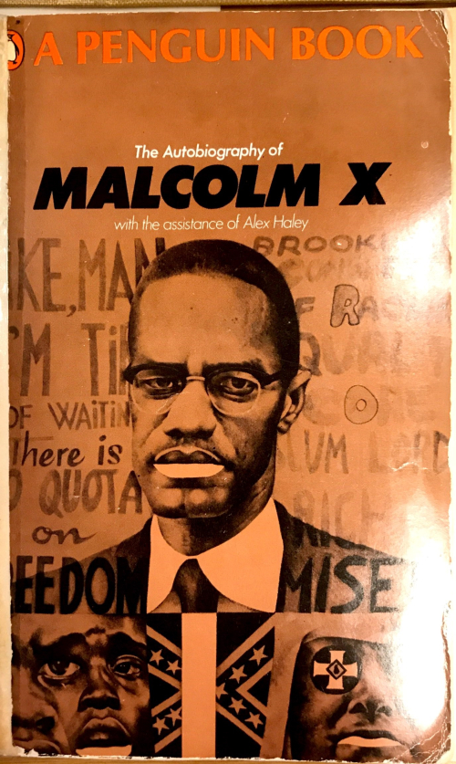 Front cover of the Autobiography of Malcolm X, showing full portrait