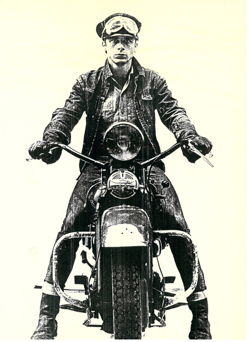 Photograph of Jan Cremer on a motorbike