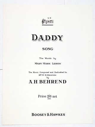 Title page of the 1953 edition of A. H. Behrend's song 'Daddy'.