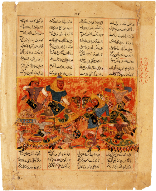 Rustam Kills the Turanian Hero Alkus with his Lance. ca. 1450, India