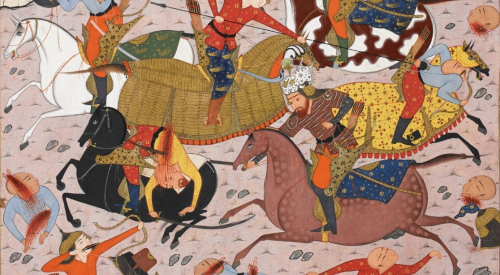 Rustam leads an attack on the Turanians' allies. ca. 1590, Shiraz