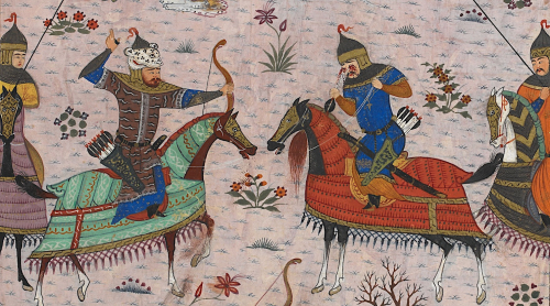 Rustam shoots Isfandiyar in the eyes with a double-pointed arrow, detail showing Rustam's facial hair with a darker shade. 1486, Shiraz