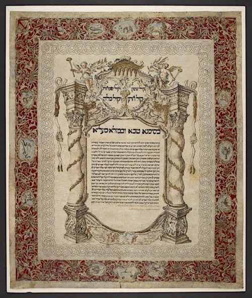 Italian ketubah, Modena, 1 October 1557 [ie. 21 October 1757] (BL Or.6706)