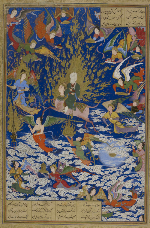 """The Miʻraj of the Prophet"" from the Khamsah of Shah Tahmasp (BL Or. 2265 f.195r)."