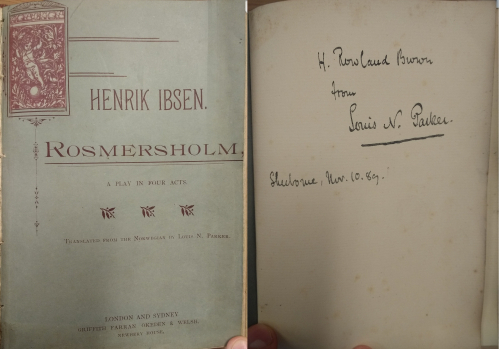 Title Page of Louis N. Parker's translation alongside his dedication to H. Rowland Brown
