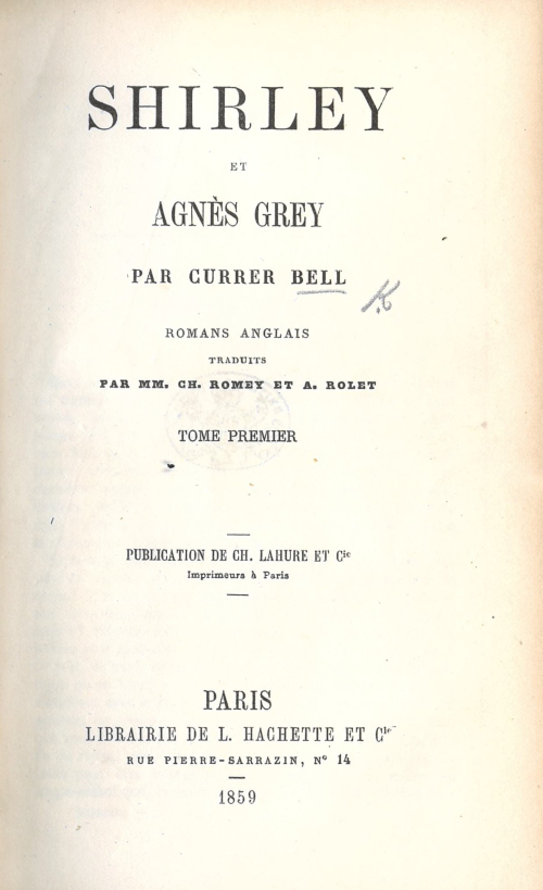 Title-page of a French translation of 'Shirley' and 'Agnes Grey'