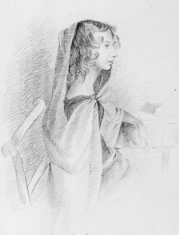Pencil portrait of Anne Bronte