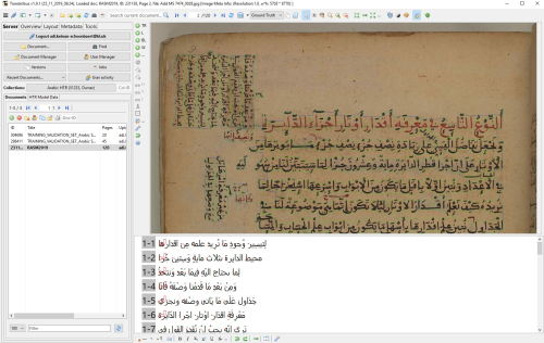 A screenshot from Transkribus, showing the segmentation and transcription of a page from Add MS 7474