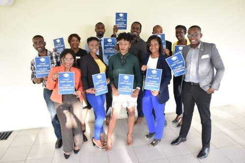 "Chantelle in a group portrait together with the other Jamaican 2019/2020 Chevening scholars. From an article published by the ""Jamaican Observer reporting the success of the nineteen Jamaican awardees"