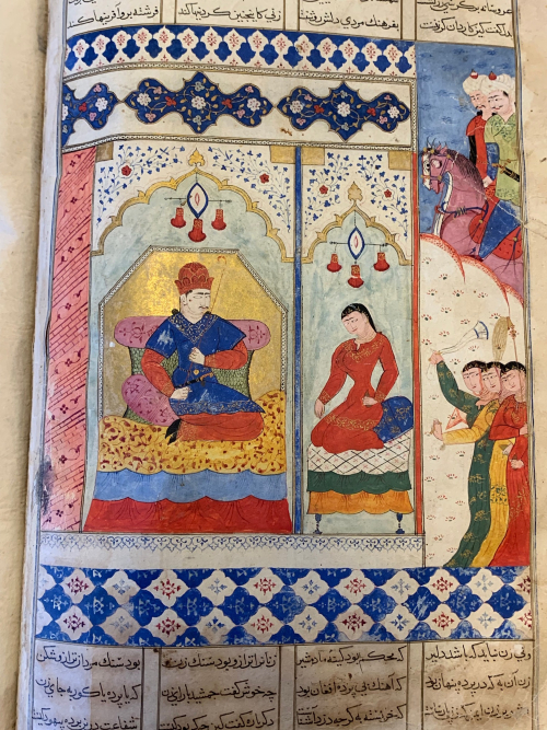 Sharafnāmāh of Niẓāmī, Bengal (Gaur?), 1531. Iskandar shares the throne with Queen Nushabah (BL Or 13836, f. 37v)