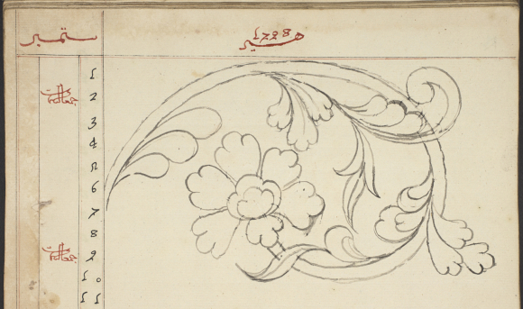 Floral sketch in a Bugis court diary from Bone Add_ms_12373_f076v-crop