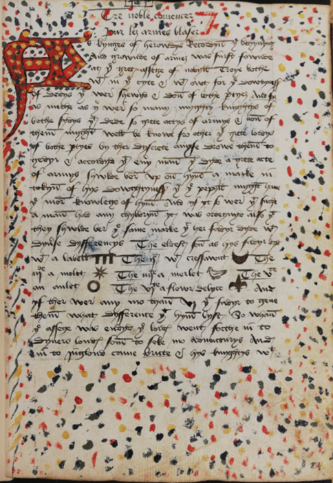 A page from the only surviving copy of Richard Strangways' heraldic treatise.