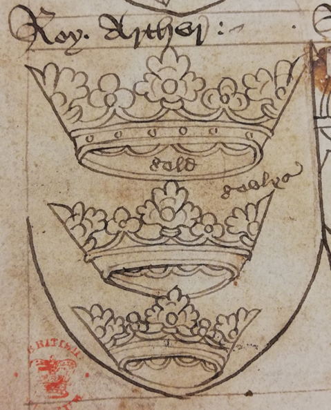 A detail of the arms of King Arthur from a 15th-century manuscript.