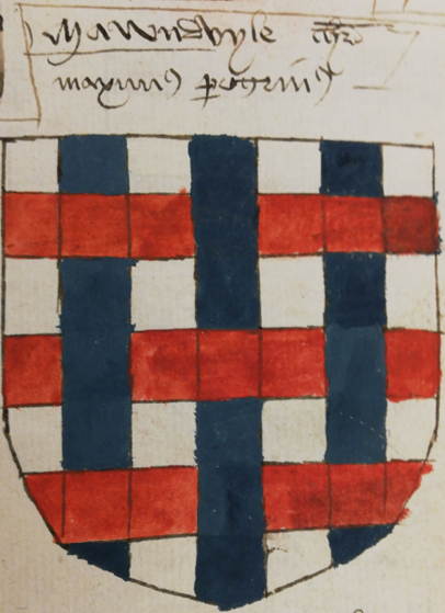 A detail of the arms of John Mandeville.