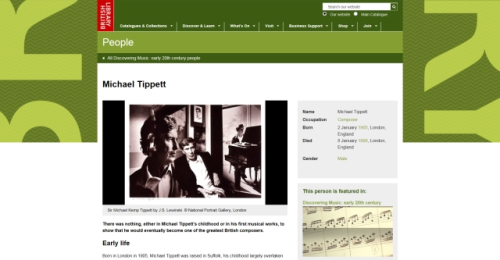 Discovering Music People page of Michael Tippett