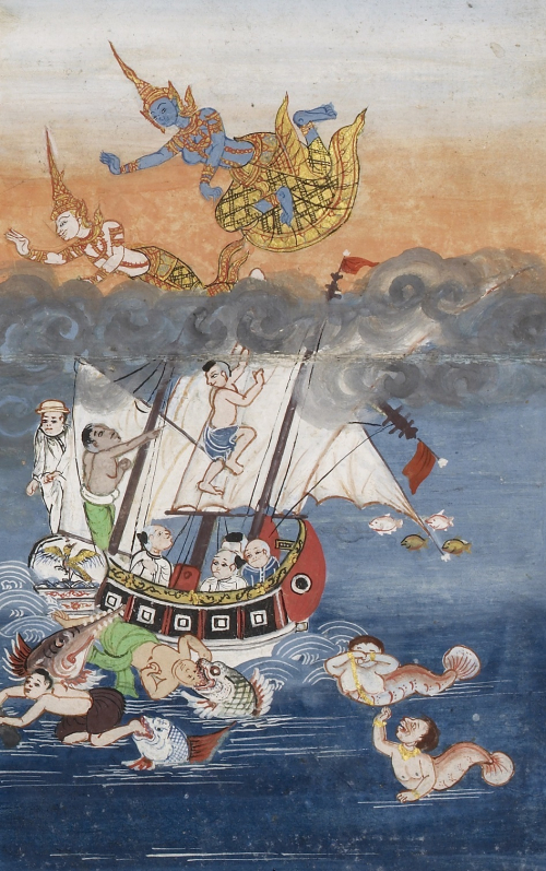 Another scene from a 19th-century Thai Buddhist manuscript depicting the moment when Manimekhala lifts Mahajanaka from the water. The other people on the ship, representing various ethnic groups, struggle to survive while a mermaid and a merman watch the event. British Library, Or.16100, f. 3.