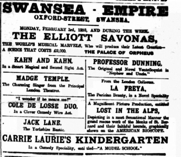 Theatre bill for Swansea February 1908