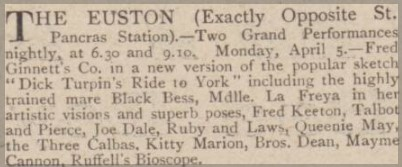 Advert for Euston Theatre of Varieties April 1909