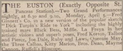 Advert for Euston Theatre of Varieties April 1909