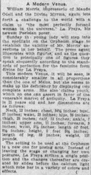 Review of La Freya's act from Cincinnati Commercial Tribune 10 November 1910