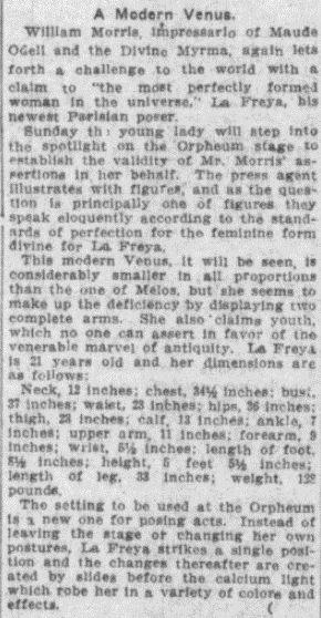 Review of La Freya's act from Cincinnati Commercial Tribune 10 November 1910