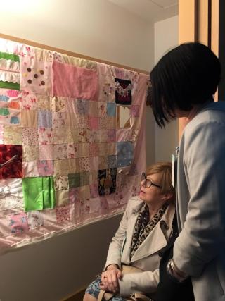 Irene Elliot and her daughter Jayne look at the Memory Foam audio quilt