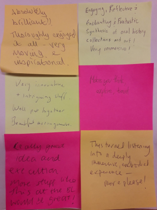 Post it note comments from visitors to the showcase