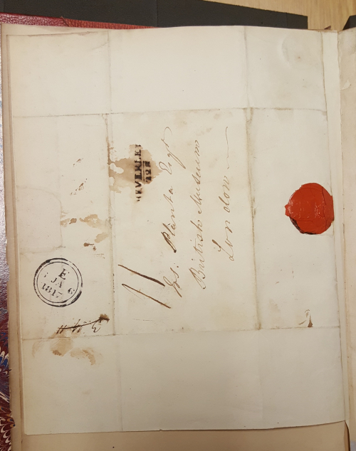 Back of Coltman's letter, showing the seal and postage stamps