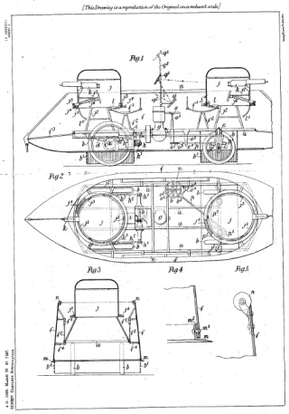 Image of Frederick Simms' motor driven car plan