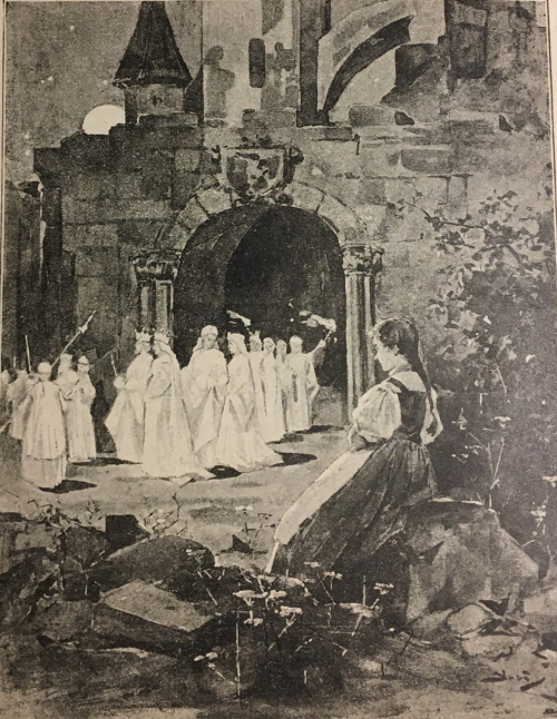 Illustration by František Slabý and Karel Štapfer of a castle and a procession from Národní báchorky a pověsti