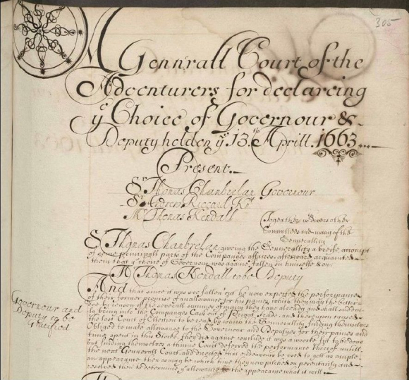 Page from Court of Directors' Minutes 13 April 1663