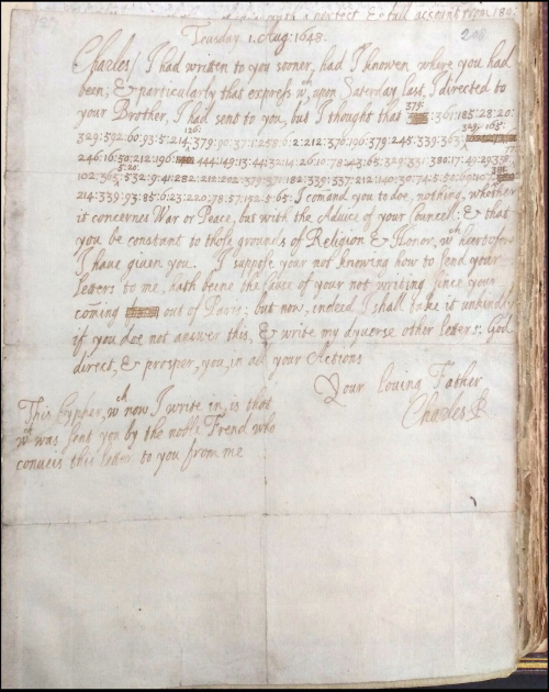 A letter addressed to Prince Charles, signed by King Charles I