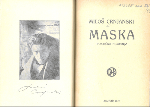 Title page of Crnjanski's Maska with frontispiece photograph of the author
