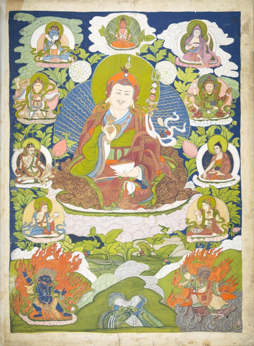 Thangka painting of Padmasambhava, the 'Lotus-Born', who is one of the most popular teacher figures in Tibet. India 1788-1805. British Library, Add. Or. 3048, from the collection of Sir Gore Ousely