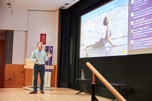 Jack Duckett from Mintel on the stage at Start-up Day