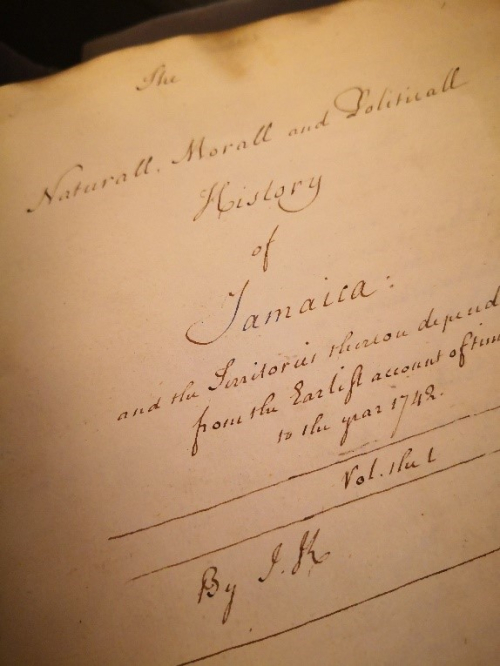 Part of the hand-written title page of James Knight's work