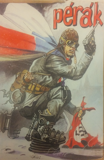 An image of Pérák. He has springs on his feat and is holding a gun. In his other hand is a torn Nazi flag.