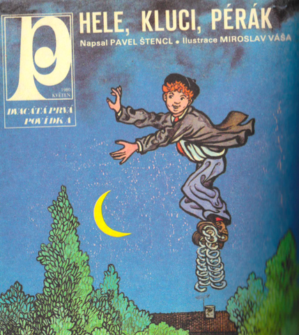 Cover of magazine Pionýr. Cover of magazine Pionýr is depicted here as a boy with springs on his feat jumping through the night sky.