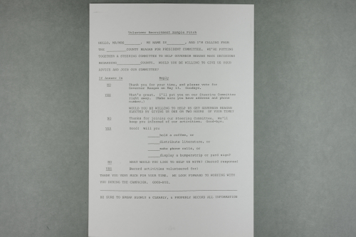 Example telephone script from Reagan campaign