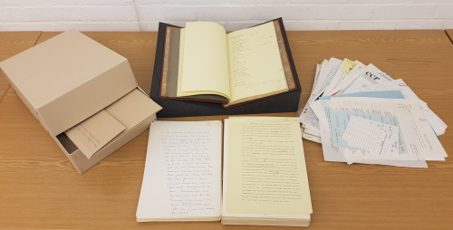 Photograph showing a selection of material from the Andrew Salkey Archive