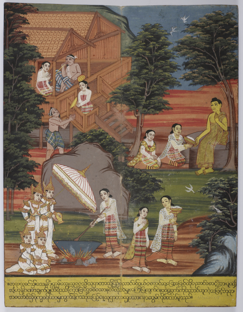 The Bodhisatta receiving the milky rice pudding from Sujata. He accepted his first food after realizing that extreme asceticism was not suitable for achieving enlightenment. British Library, Or. 14297, f. 16