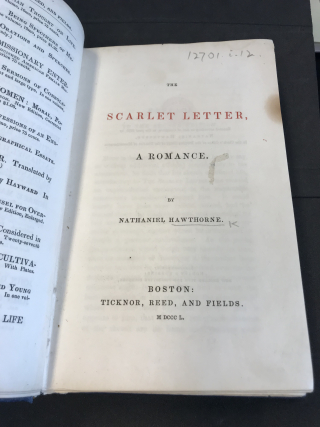 Title page of The Scarlet Letter, A Romance