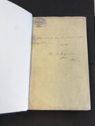 A note from an owner of this edition – it reads 'You will be much pleased with Hawthorne.'