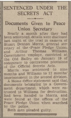Report of Official Secrets Act trial -  Western Daily Press 17 February 1943