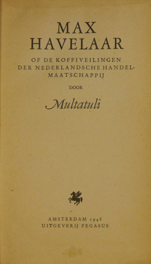 Title page of the 1948 edition of Max Havelaar