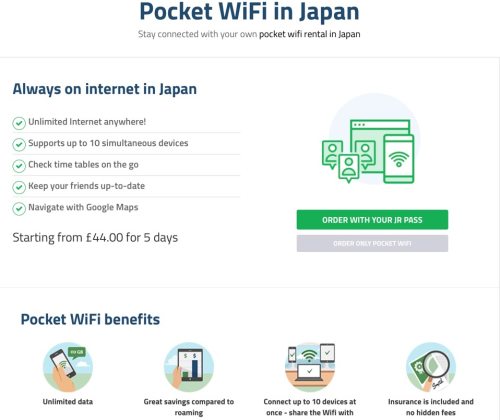 Japan Pass Pocket WiFi, an example of A/B testing