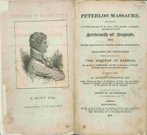 Portrait of Henry Hunt, and title page of Peterloo Massacre