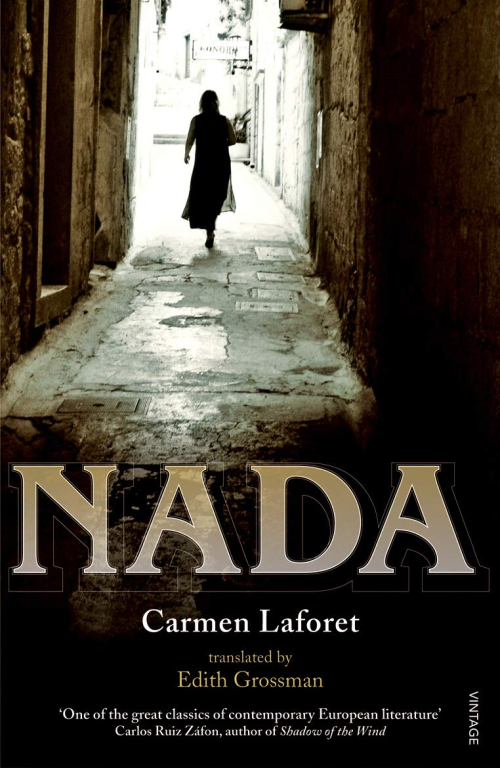 Cover of Nada by Carmen Laforet, featuring a woman walking down an alleyway