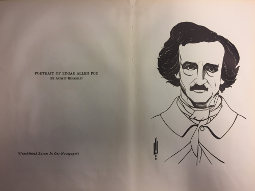 Portrait from 'Illustrations to Edgar Allen Poe' by Aubrey Beardsley showing Poe's black hair and moustache