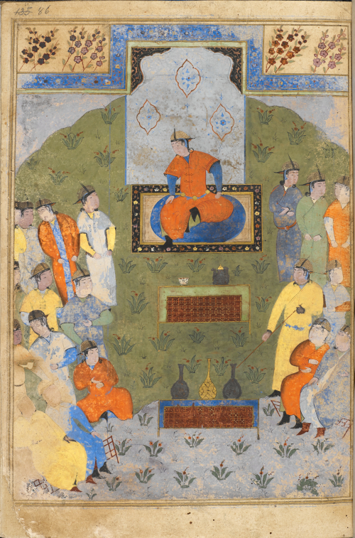 A painting of Chagatai Khan seated with his counsellors.